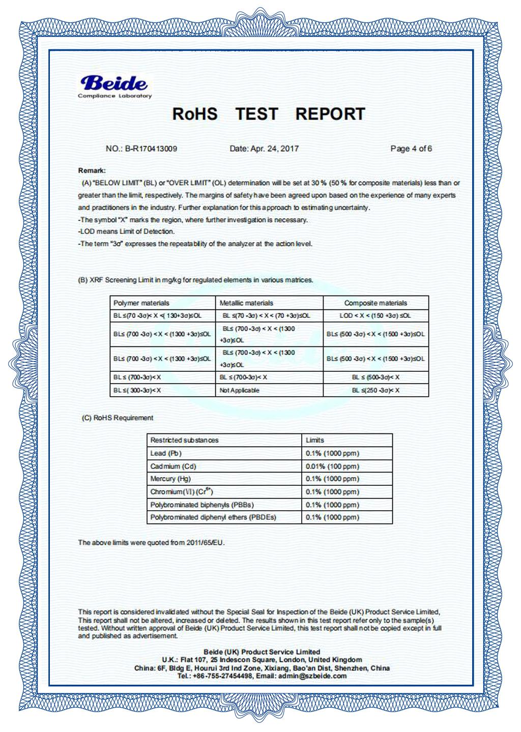 ROHS Report - RF Label